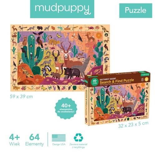 Mudpuppy - Puzzle Obserwacyjne Amerykańska Pustynia 64 elementy 4+