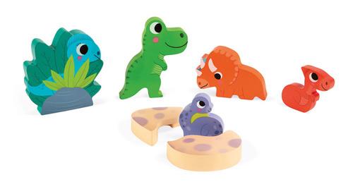 Janod - Układanka Drewniana 3D Zabawa w Chowanego Dinozaury 18m+