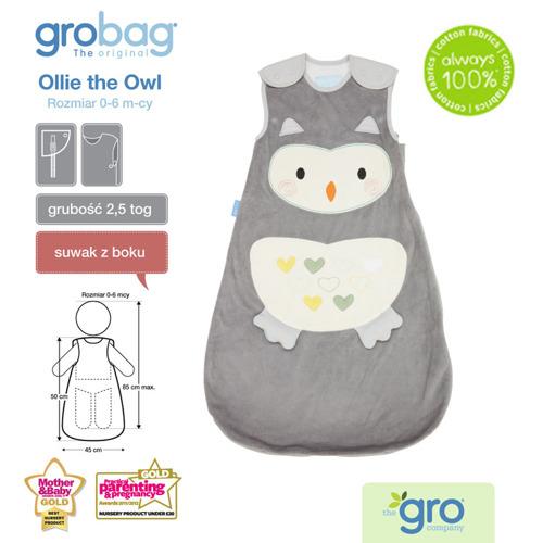Gro Company - Śpiworek Grobag Ollie The Owl Grubość 2,5 tog 0-6m
