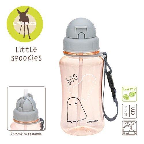 Lassig - Bidon z Zapasową Słomką Little Spookies Peach