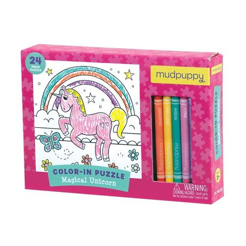 Mudpuppy - Puzzle Kolorowanka z 5 Kredkami Magiczny Jednorożec