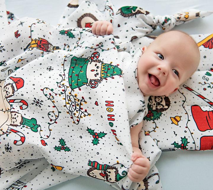 Lullalove - Poduszka Muślinowa Jeże Święta