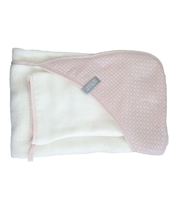 Bamboom - Ręcznik z Kapturem z Myjką 100% Bambus Organiczny Biały/Jasnoróżowy