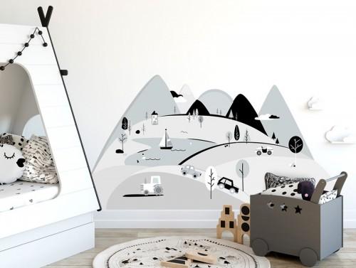 Pastelowelove - Naklejka na Ścianę Góry Szare S 150x75 cm