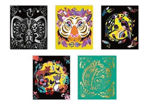 Janod - Zestaw Kreatywny Do Zdrapywania Zwierzęta Świata 5+