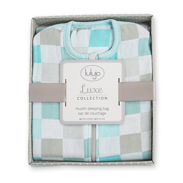 Lulujo - Luxe Śpiworek Muślinowy Aqua 0-6 miesięcy