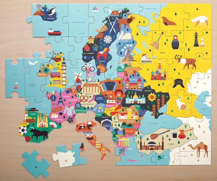 Mudpuppy Puzzle Mapa Europy Z Elementami W Ksztalcie Panstw