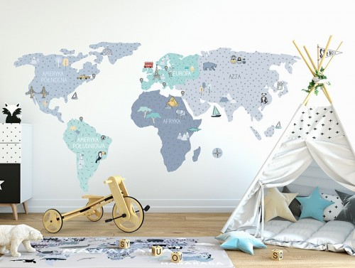 Pastelowelove - Naklejka na Ścianę Mapa Niebieska M 140x70 cm