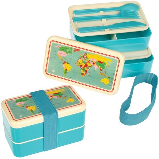 Rex - Dwupoziomowy Lunchbox ze Sztućcami World Map