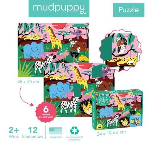 Mudpuppy - Puzzle z Okienkami Safari 12 elementów 2+