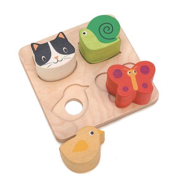 Tender Leaf Toys - Drewniane Zabawka Sensoryczna Zwierzęta Kształty i Faktury 18m+