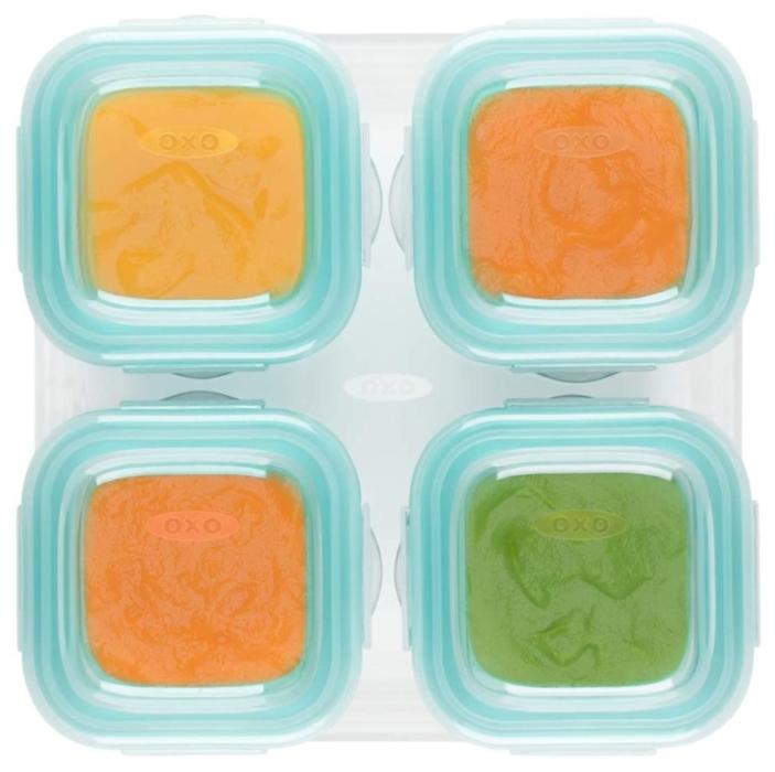 OXO - Szklane Pojemniki do Zamrażania Żywności 4szt Teal