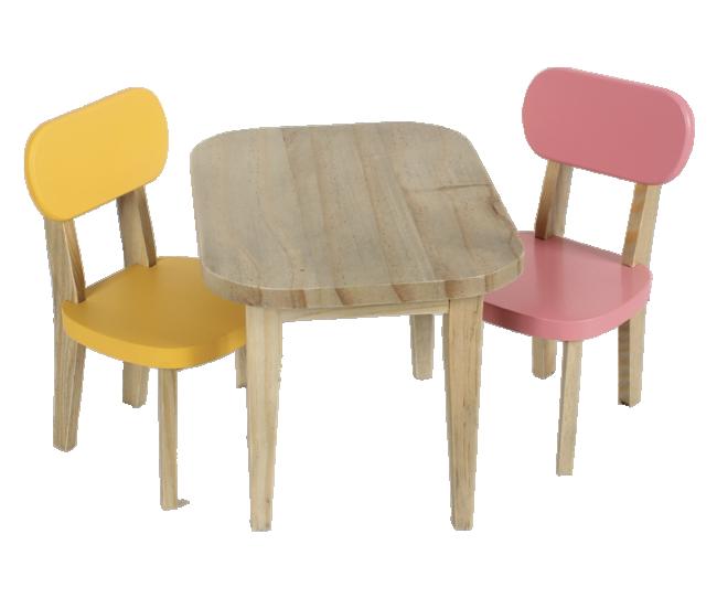 Maileg - Drewniany Stół i Dwa Krzesła Żółty+Różowy dla Króliczków