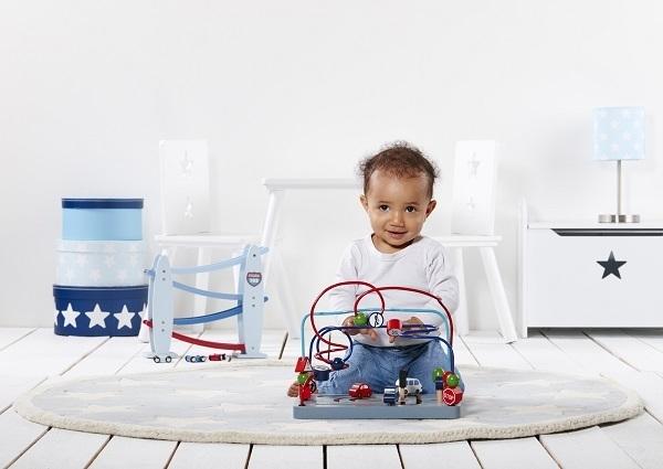 Kids Concept - Drewniana Zjeżdżalnia dla Samochodzików Blue