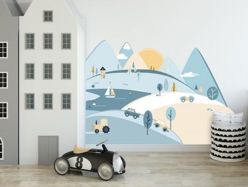 Pastelowelove - Naklejka na Ścianę Góry Błękitne S 150x75 cm