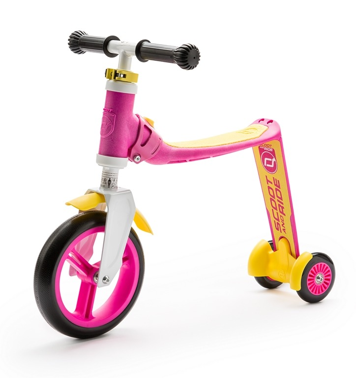 Scootandride - Highwaybaby PLUS 2w1 Hulajnoga i Rowerek Pink 1+