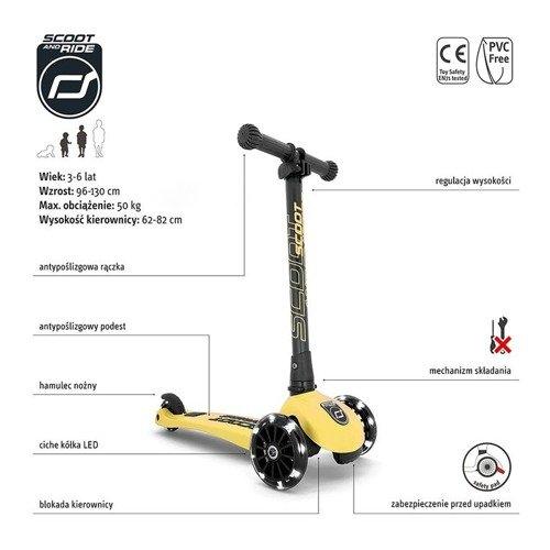 Scootandride - Highwaykick 3 LED Hulajnoga Składana ze Świecącymi Kółkami 3+ Lemon