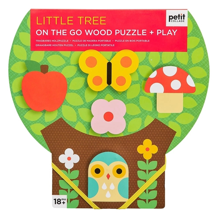 Petit Collage - Puzzle Drewniane On The Go Drzewko 18m+