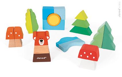 Janod - Wózeczek do Ciągnięcia z Klockami Baby Forest