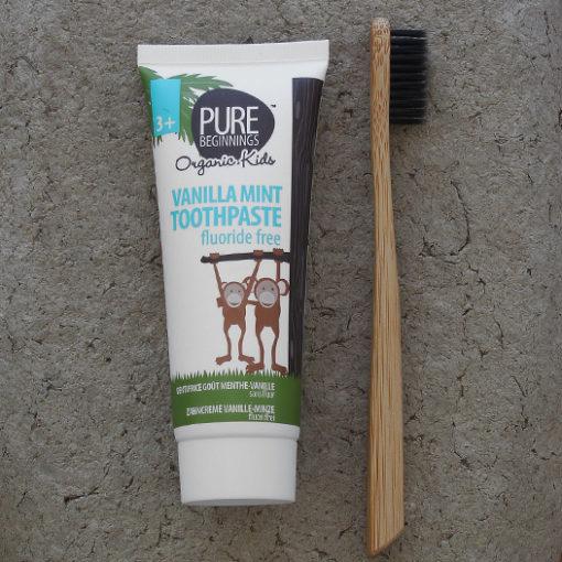 Pure Beginnings Organic Kids - Pasta do Zębów bez Fluoru z Ksylitolem o Smaku Waniliowej Mięty 75ml