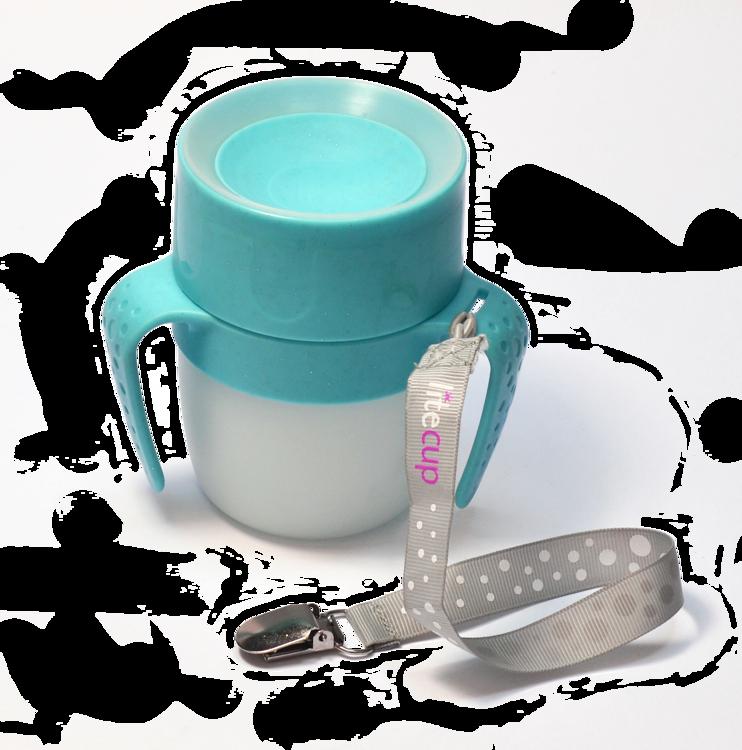 LiteCup - Świecący Kubeczek Niekapek z Uchwytami Błękitny