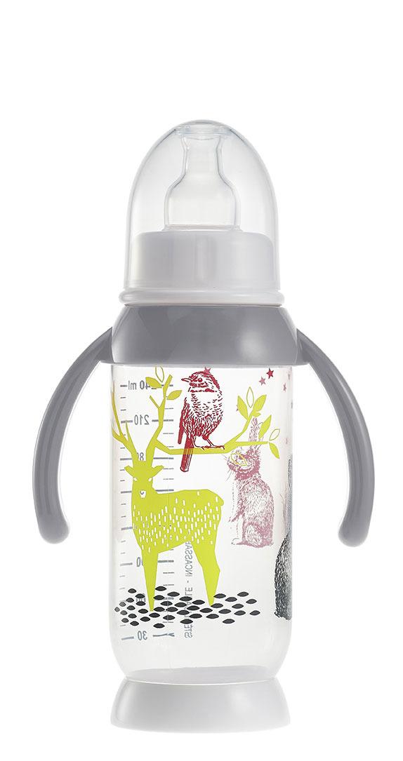 Beaba - Butelka Antykolkowa z Uchwytem 240ml Bunny Grey