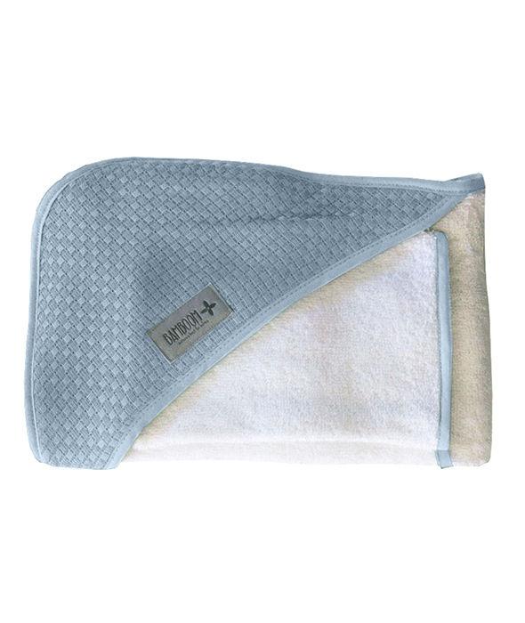 Bamboom - Ręcznik z Kapturem z Myjką 100% Bambus Organiczny Biały/Niebieski Jeans