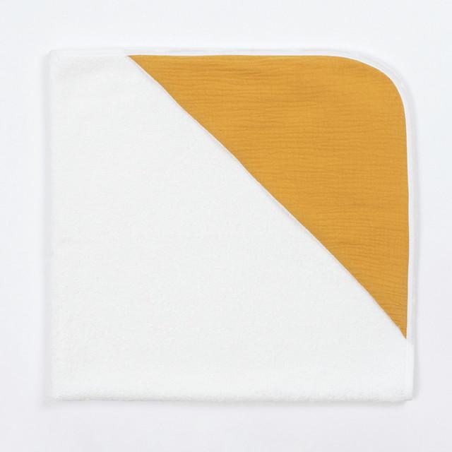 Bim Bla - Bambusowy Ręcznik z Muślinowym Kapturkiem Musztardowy