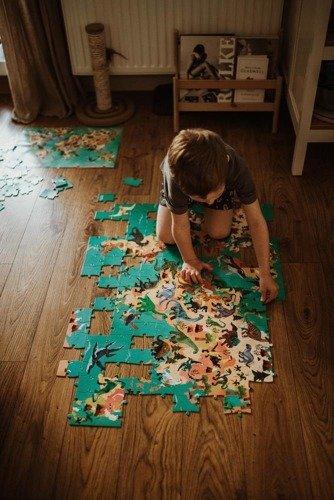 Janod - Puzzle Edukacyjne z Figurkami 3D Dinozaury 200 Elementów 6+