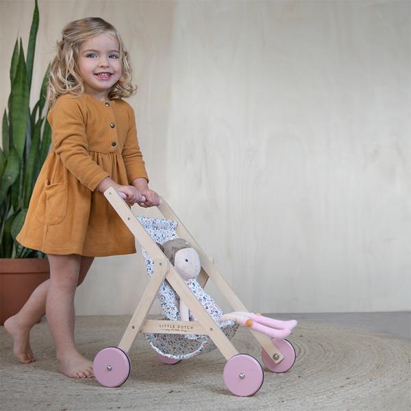 Little Dutch - Drewniany Wózek dla Lalek Spring Flowers 3+