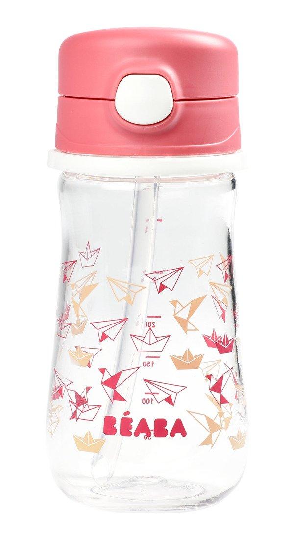Beaba -  Tritanowa Butelka ze Słomką 350 ml Dark Pink