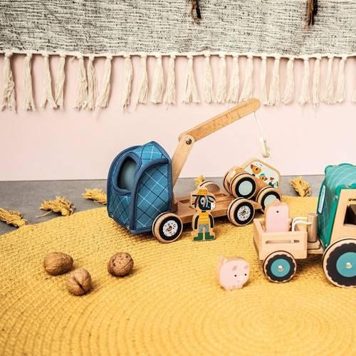 Lilliputiens - Drewniany Traktor z Przyczepą i 2 Świnkami Krówka Rosalie 2 lata+