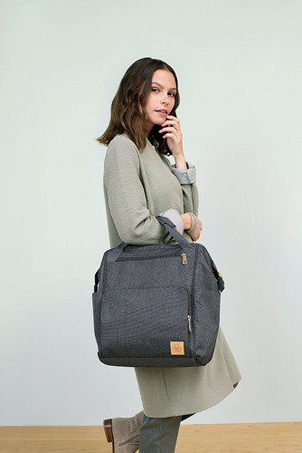 Lassig - Glam Label Plecak dla Mam z Akcesoriami Goldie Backpack Anthracite