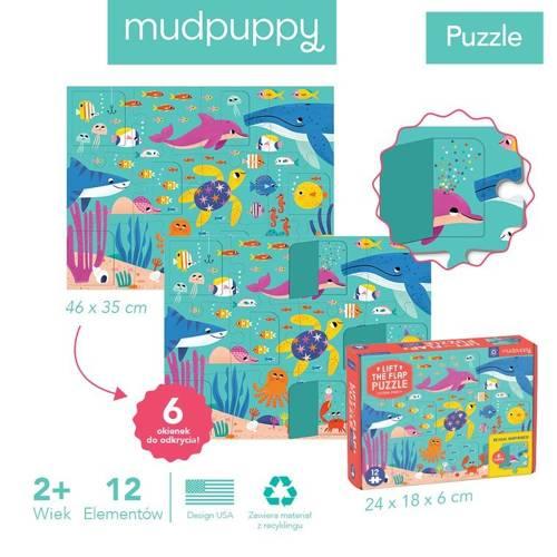 Mudpuppy - Puzzle z Okienkami Przyjęcie w Oceanie 12 elementów 2+