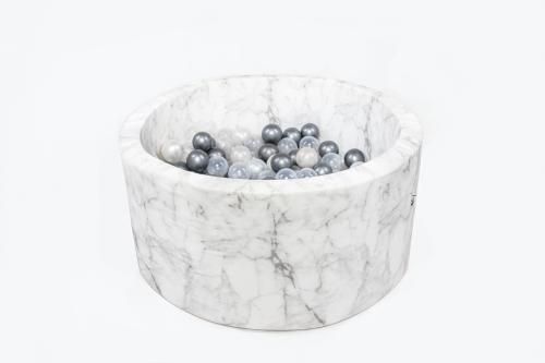 Misioo - Suchy Basen Velvet z 200 Piłeczkami Marmur 90X40 cm