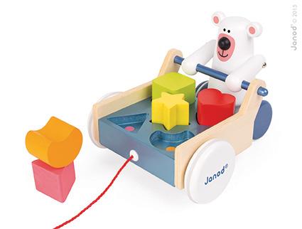 Janod - Miś Polarny z Sorterem Kształtów do Ciągnięcia