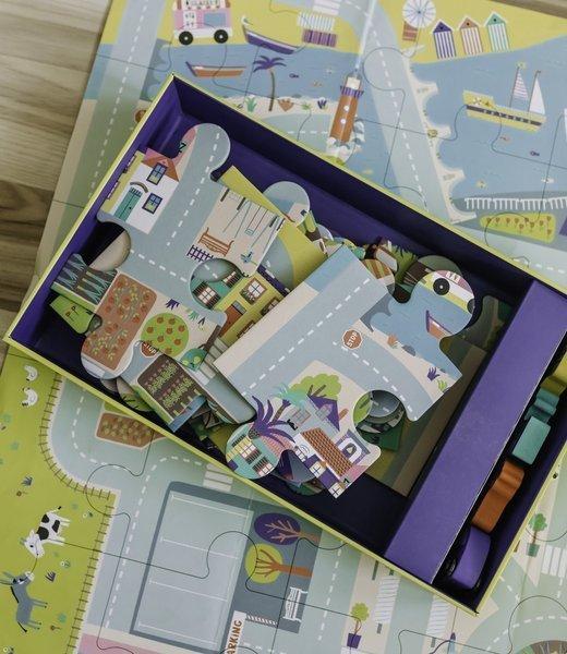 Auzou - Puzzle Duże Miasto z Drewnianymi Autkami 3+