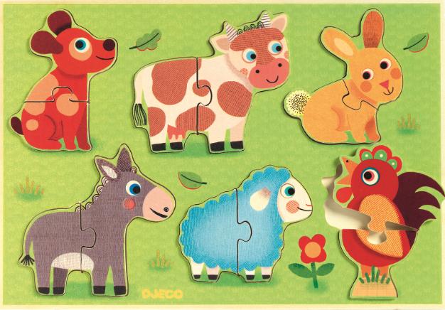 Djeco - Drewniane Puzzle Zwierzęta z Łąki