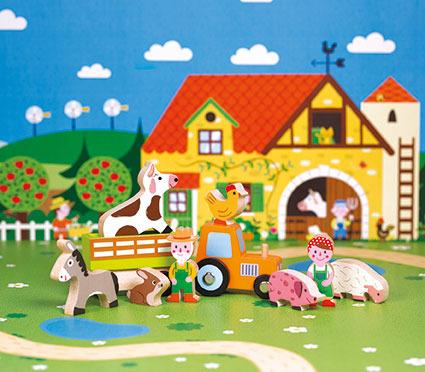 Janod - Kolekcja Story Zestaw Drewniany 10 Elementów Farma