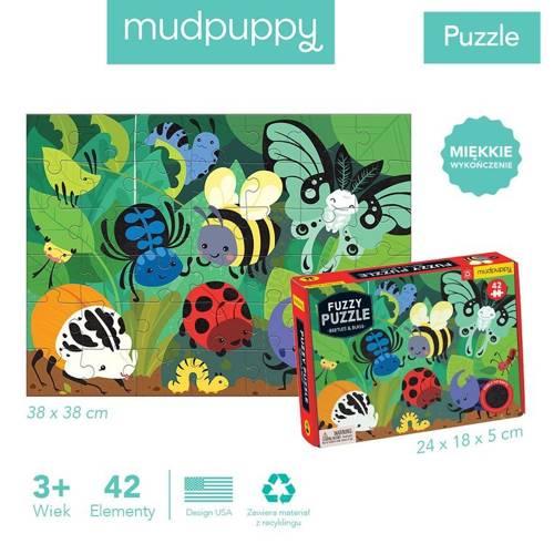 Mudpuppy - Puzzle Sensoryczne z Miękkimi Aplikacjami Żuczki i Robaczki 42 elementy 3+