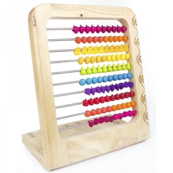 B. Toys - Drewniane Liczydło z Paciorkami w Kształcie Owoców 18m+
