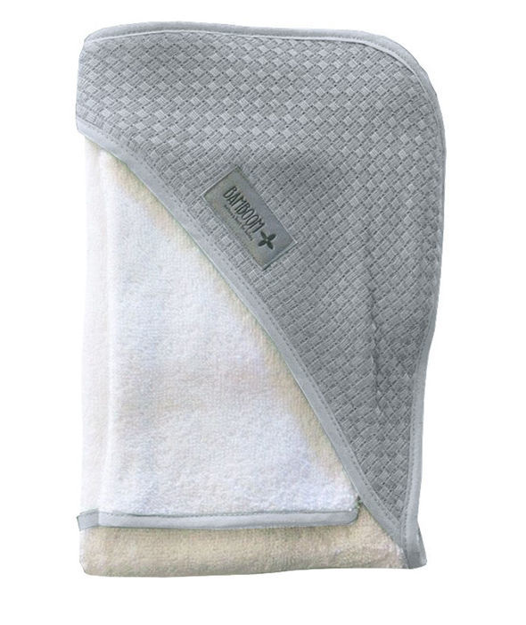 Bamboom - Ręcznik z Kapturem z Myjką 100% Bambus Organiczny Biały/Popielaty