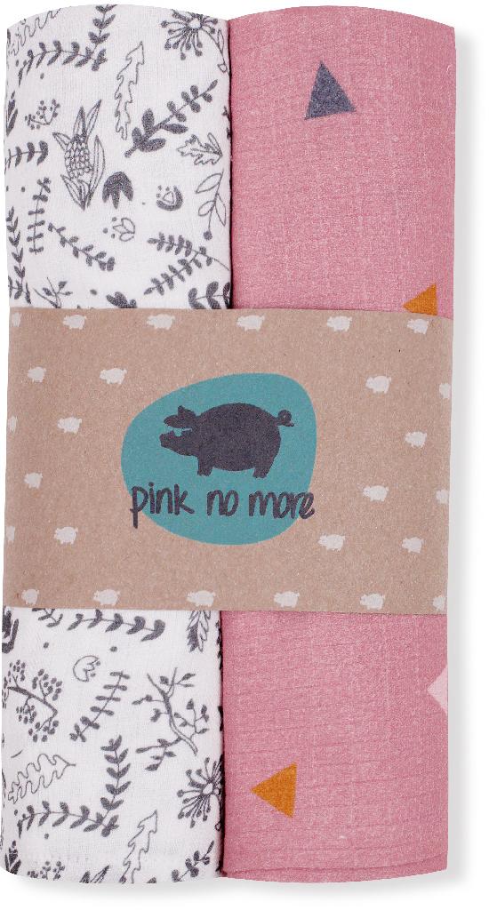 Pink no More - Muślinowo-bambusowe Pieluszki Botanic/Pink