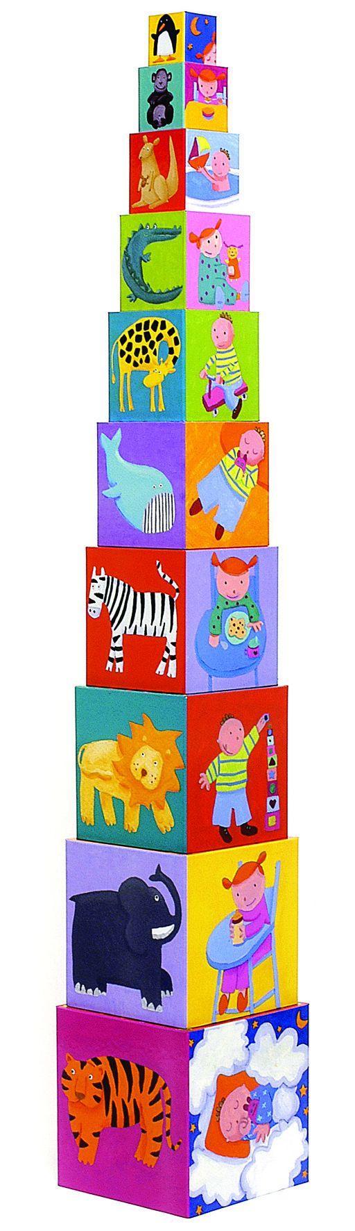 Djeco Pudełka do Układania Zabawne Zwierzęta