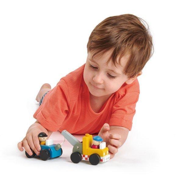 Tender Leaf Toys - Drewniany Zestaw Samochodów do Holowania 3+