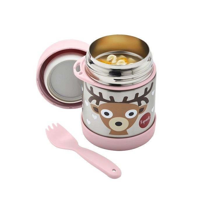 3 Sprouts - Termos dla Dzieci Jelonek Pink