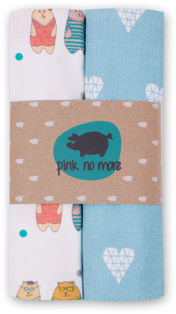 Pink no More - Muślinowo-bambusowe Pieluszki Serca Denim/Misie