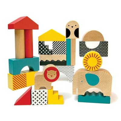Petit Collage - Klocki Drewniane Zwierzęta 18m+