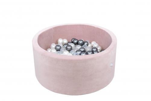 Misioo - Suchy Basen Velvet z 200 Piłeczkami Pudrowy Róż 90X40 cm + 200 Dodatkowych Piłek