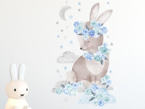 Pastelowelove - Naklejka na Ścianę Królik Niebieski